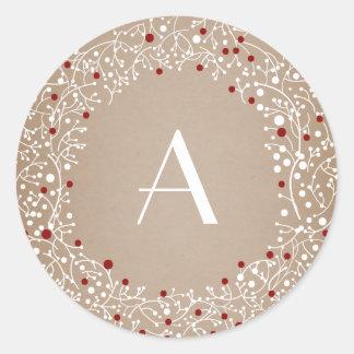 Día de fiesta rojo con monograma del navidad de la pegatina redonda