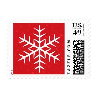 Día de fiesta rojo del navidad del copo de nieve timbres postales