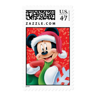 Día de fiesta rojo Mickey Mouse en el copo de Estampilla