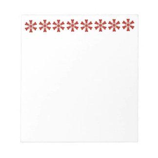 Día de fiesta rojo y blanco de los copos de nieve blocs de notas