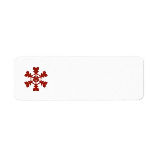 Día de fiesta rojo y blanco de los copos de nieve etiqueta de remitente