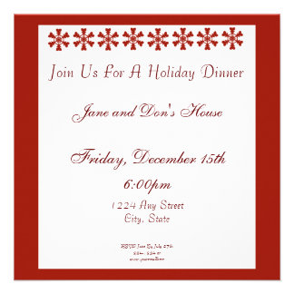 Día de fiesta rojo y blanco de los copos de nieve invitación personalizada