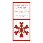 Día de fiesta rojo y blanco de los copos de nieve tarjeta publicitaria a todo color