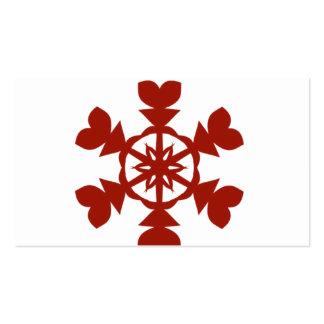Día de fiesta rojo y blanco de los copos de nieve tarjetas de visita