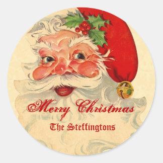 Día de fiesta sonriente del navidad de Santa del Pegatina Redonda