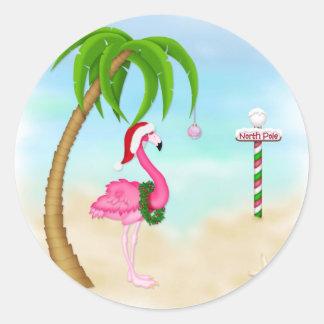Día de fiesta tropical del flamenco rosado pegatina redonda