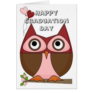 Día de graduación - globos Folksy del búho y del c Felicitacion