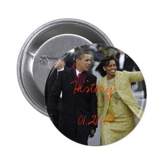 Día de inauguración de Barack Obama y de Michelle  Pin Redondo De 2 Pulgadas