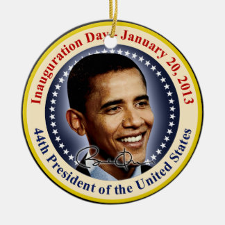Día de inauguración de presidente Obama Adorno Redondo De Cerámica