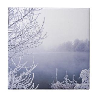 Día de invierno de niebla por el río azulejo cuadrado pequeño
