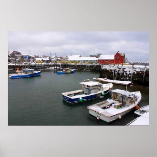 Día de invierno del puerto de Rockport Posters