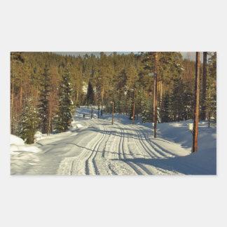 Día de invierno en Suecia Pegatina Rectangular