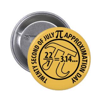 Día de la aproximación del pi pin redondo de 2 pulgadas