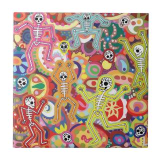 Día de la baldosa cerámica de los esqueletos muert azulejos ceramicos