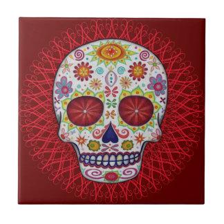 Día de la baldosa cerámica del cráneo muerto azulejo cuadrado pequeño