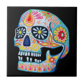 Día de la baldosa cerámica del cráneo muerto del azulejo cuadrado pequeño