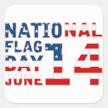 Día de la bandera nacional calcomanía cuadradas personalizada