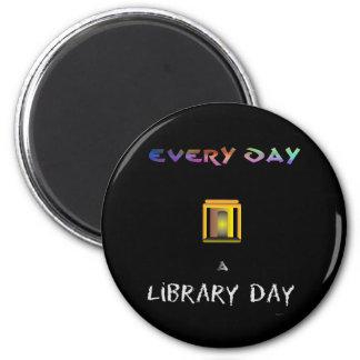 Día de la biblioteca imán redondo 5 cm