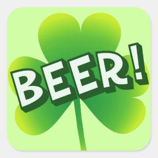 Día de la cerveza del santo calcomanía cuadradas personalizadas