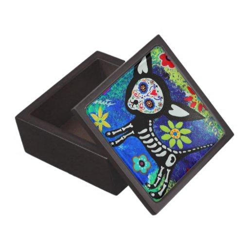 Día de la chihuahua muerta caja de joyas de calidad