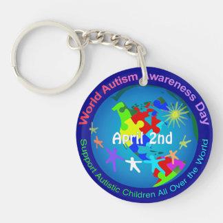 Día de la conciencia del autismo del mundo llavero redondo acrílico a doble cara