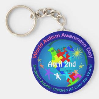 Día de la conciencia del autismo del mundo llavero redondo tipo chapa