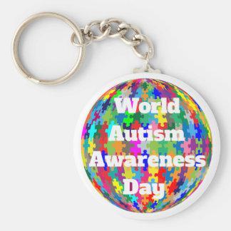 Día de la conciencia del autismo del mundo llavero redondo tipo pin