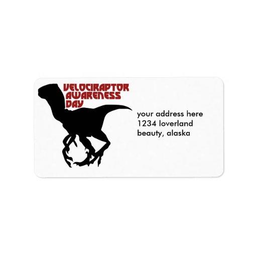 Día de la conciencia del Velociraptor Etiquetas De Dirección