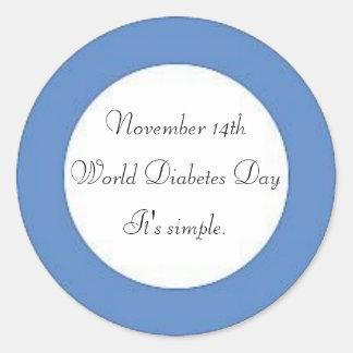 Día de la diabetes del mundo pegatina redonda