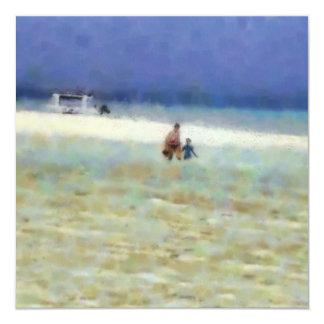 """Día de la diversión en la playa invitación 5.25"""" x 5.25"""""""