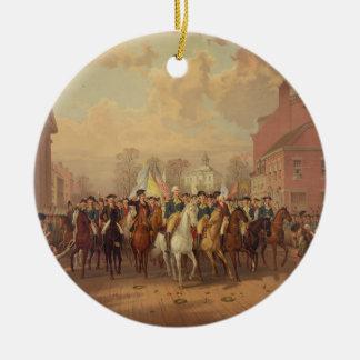 Día de la evacuación y entrada 1783 de Washingtons Adorno Redondo De Cerámica