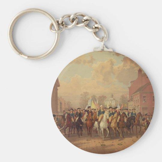 Día de la evacuación y entrada 1783 de Washingtons Llavero Redondo Tipo Pin