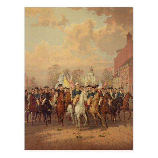 Día de la evacuación y entrada 1783 de Washingtons Postal