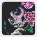 Día de la floración de la tarde del chica muerto d calcomania cuadradas personalizada
