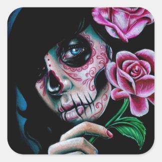 Día de la floración de la tarde del chica muerto pegatina cuadrada