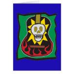 Día de la guitarra muerta Skul w/Green azul Tarjeta De Felicitación
