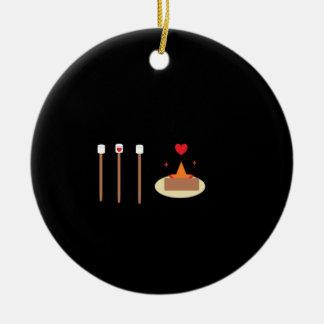 Día de la hoguera adorno navideño redondo de cerámica