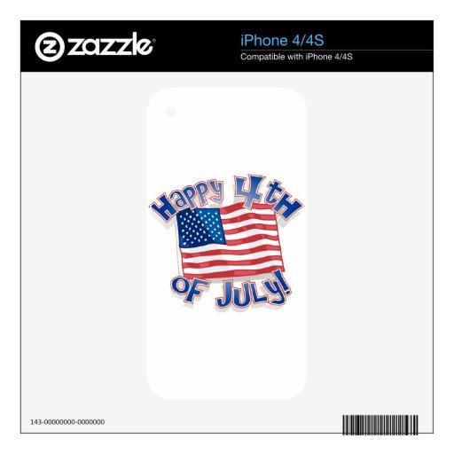 Día de la Independencia 4 de julio Calcomanía Para El iPhone 4