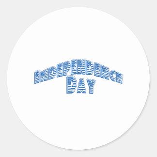 Día de la Independencia azul Pegatina Redonda
