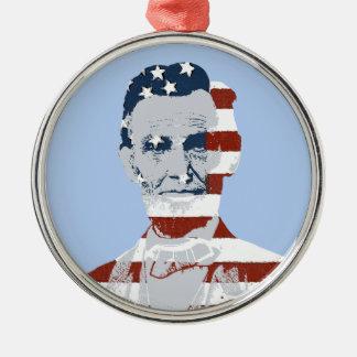 Día de la Independencia de Abraham Lincoln del Adorno Redondo Plateado