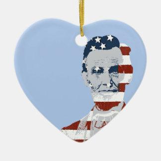 Día de la Independencia de Abraham Lincoln del Adorno De Cerámica En Forma De Corazón