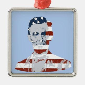 Día de la Independencia de Abraham Lincoln del Adorno Cuadrado Plateado