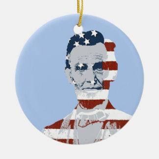 Día de la Independencia de Abraham Lincoln del Adorno Redondo De Cerámica