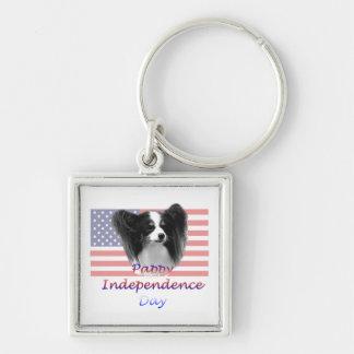 Día de la Independencia de Pappy Llavero Cuadrado Plateado