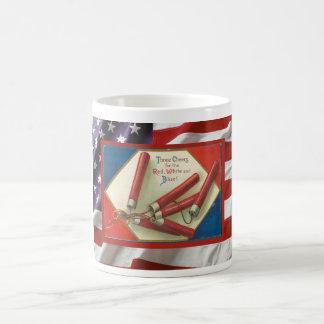 Día de la Independencia del vintage, petardos Taza De Café