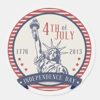 Día de la Independencia feliz 4to del 4 de julio Pegatina Redonda