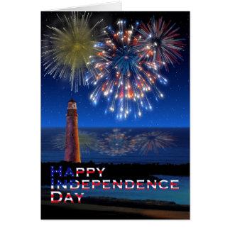 Día de la Independencia feliz del faro y de los Tarjeta De Felicitación