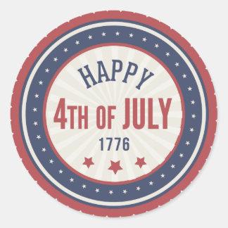 Día de la Independencia feliz el 4 de julio Pegatina Redonda