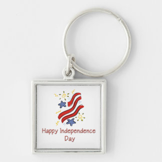 Día de la Independencia feliz Llavero Cuadrado Plateado