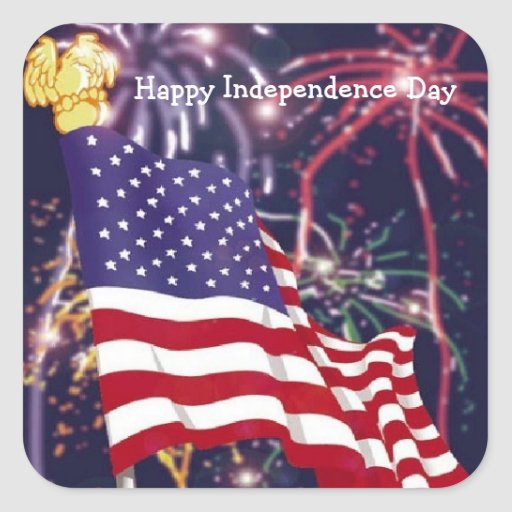 Día de la Independencia feliz - pegatina cuadrado